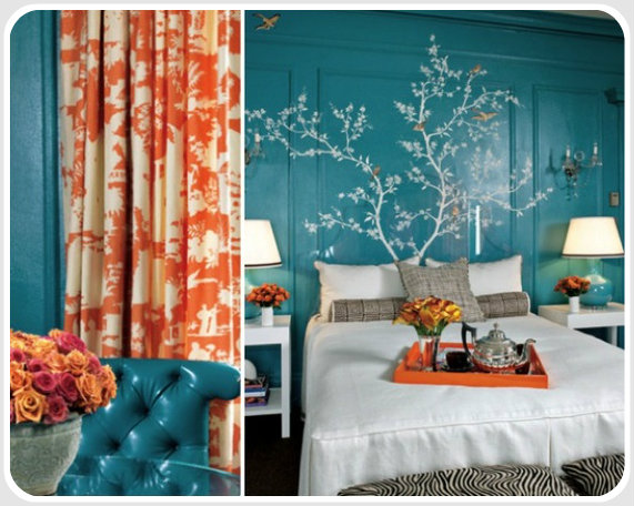 I love orange and blue contrasting colour schemes. Or in this case, red-orange and blue-green