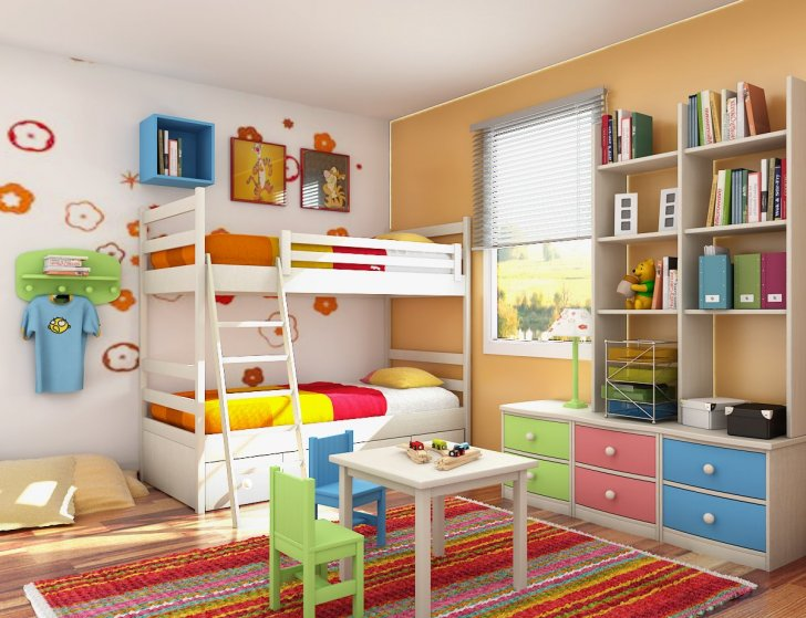 Green, red, blue, and orange tetrad colour scheme. These schemes are mostly seen in children's rooms as they are quite loud.