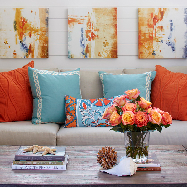 Turquoise And Coral Paintings For Kids Rooms