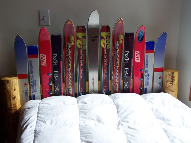 Headboard made from old skis