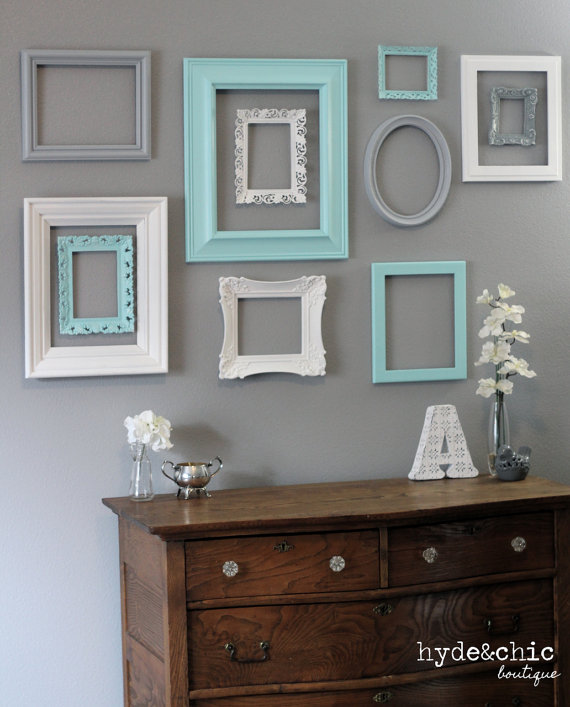 Love these vintage painted frames for a gallery wall.