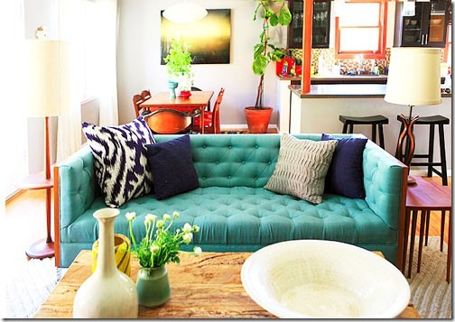 This couch is stunning! I wish I could commit to such a colourful long term piece in my own home.