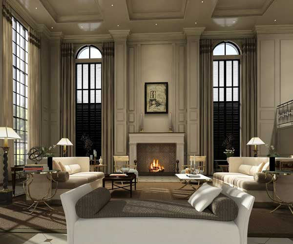 The columns and window pains are examples of vertical line. Vertical lines increase the visual height of a room.
