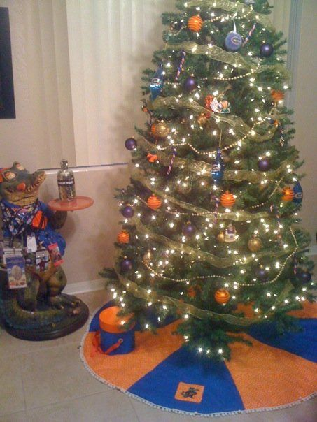 Go Gators Go! Okay, honestly I don't know who the gators are, a sports team I assume, but pictures of orange and blue Christmas decorations are hard to come by.
