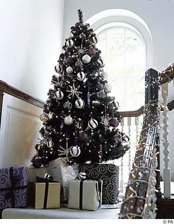This Christmas tree is actually black. A fad that has been catching over the past few years.