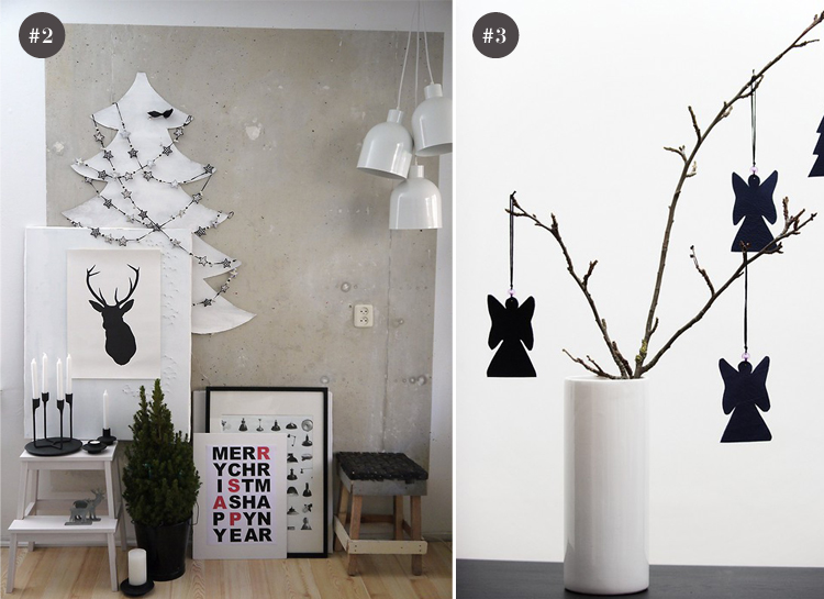 A very modern and casual take on black and white Christmas decor.
