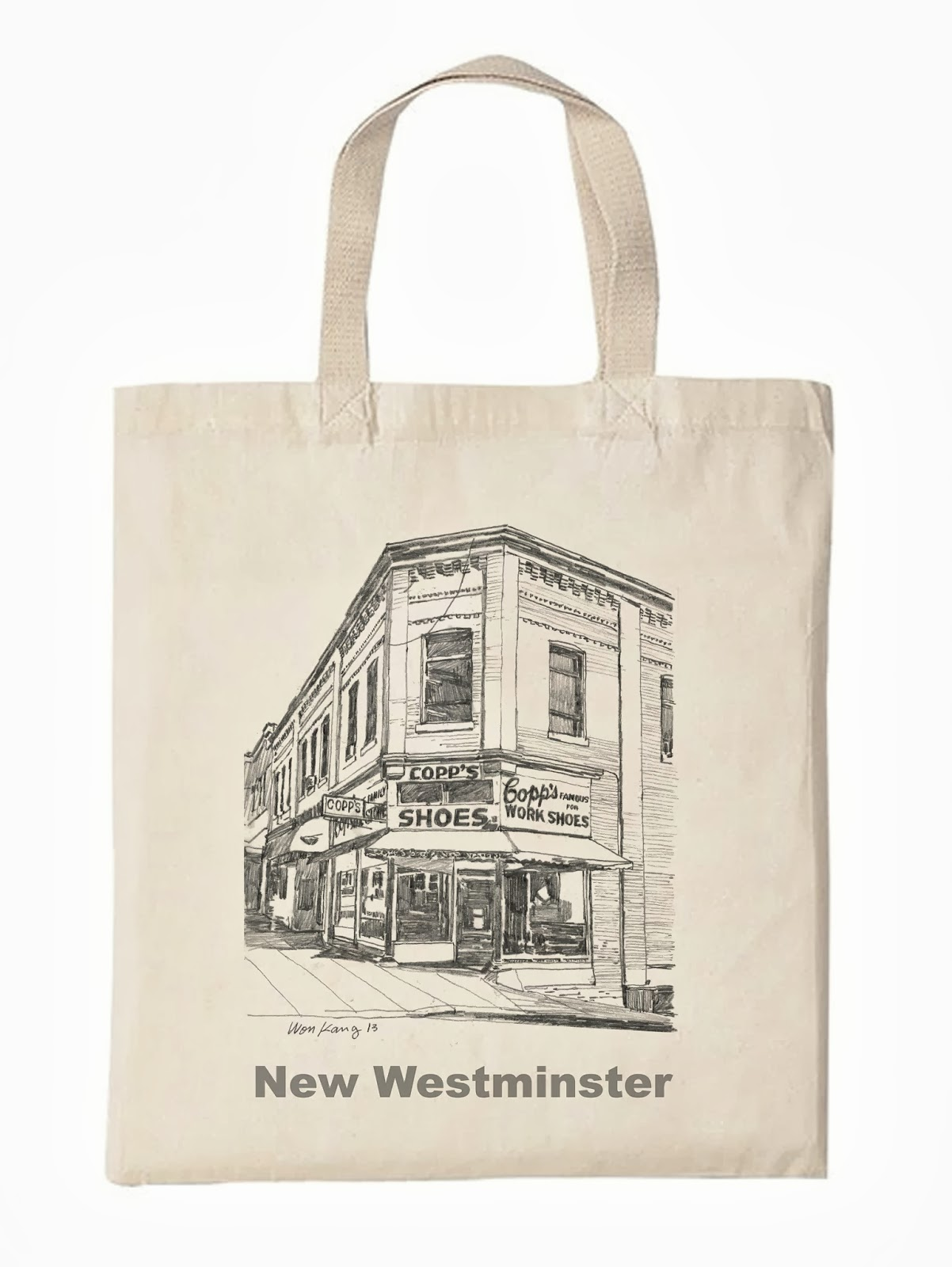 Tote bag commemorating Copps Shoes in New Westminster which recently burnt to the ground.