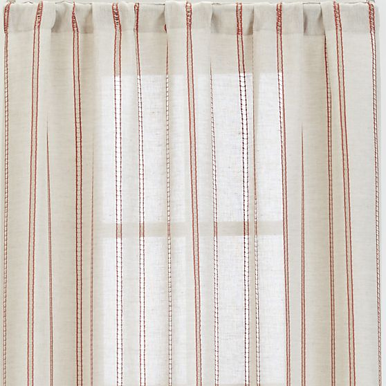 These curtains from Crate and Barrel would be a subtle nod to my accent colour with their red stripes.