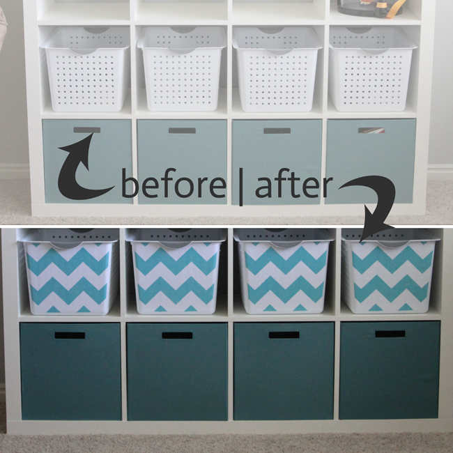 These bins were customized by applying fabric to their fronts.