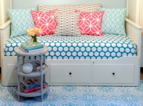 I just bought this bed for my daughter. I've changed out the drawer knobs and the duvet and pillows are in the makes.
