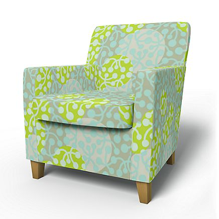 Karlstad armchair with kirsikka printed cotton cover from Bems.