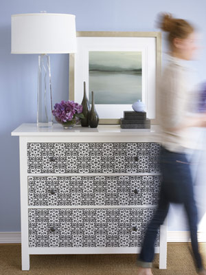 Stunning. Extra wallpaper is also a great idea for lining drawers.