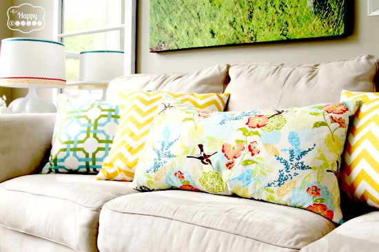 Geometric patterns mix wonderfully with florals for a more modern look.