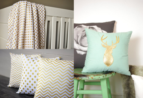 I love the idea of using these types of fabrics to design a white, gold, and silver nursery. Very glamorous. These all come in silver and white as well (gold blanket, Modfox; deer pillow, Regan's Brain; White and gold pillows, Sarita Lutrell.