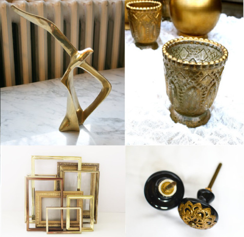 Bird statue, Art of Salvage; Votives, Hanna plus Josh;  Frames, Green Fox Studio; Knobs, Moon Supply Co.