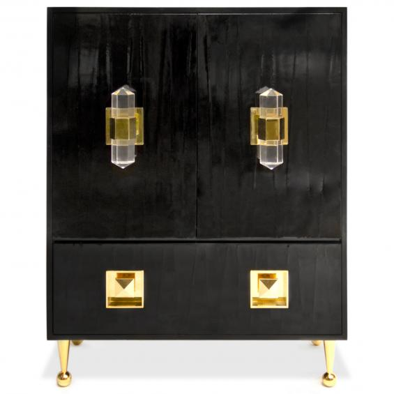 Lucite, brass, and a high gloss finish. Glamorous much?