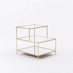 Classy glass and bronze side table from West Elm.