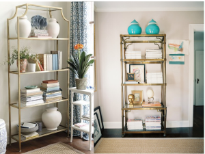 I'm a sucker for a good glass and brass/gold etagere and I love the Asian of these two pieces.