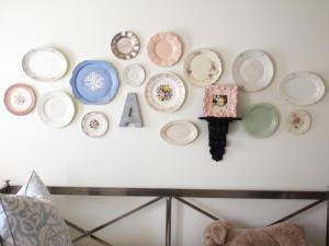 A collection of vintage plates from the thrift store makes a charming vignette.