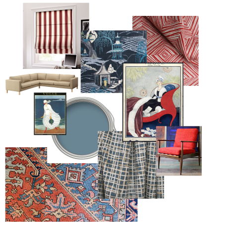 A loungy neutral sectional, vintage vogue posters, brilliant blue walls, and funky patterns would make this living room a classy.