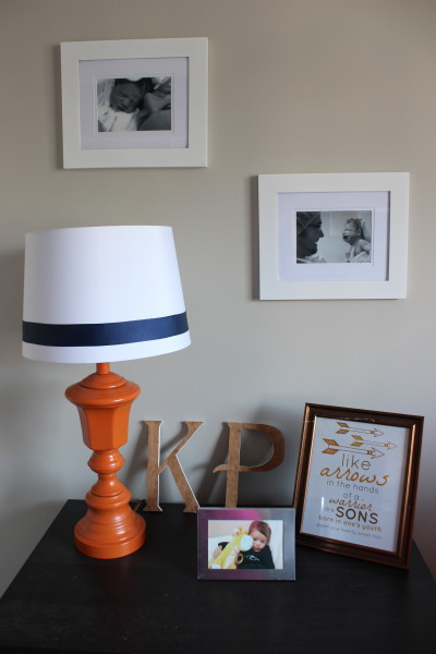 I bought his gorgeous lamp base from Value Village for $7 and gave it a boost with a coat of orange paint and a new shade.