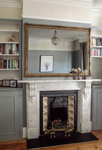 Not such an exciting reflection. Mirrors above the fireplace, unless they are beautiful enough to act as a piece of art, are a no-no. I am currently committing this atrocity along with millions of others. It's true, my ceiling isn't so exciting...