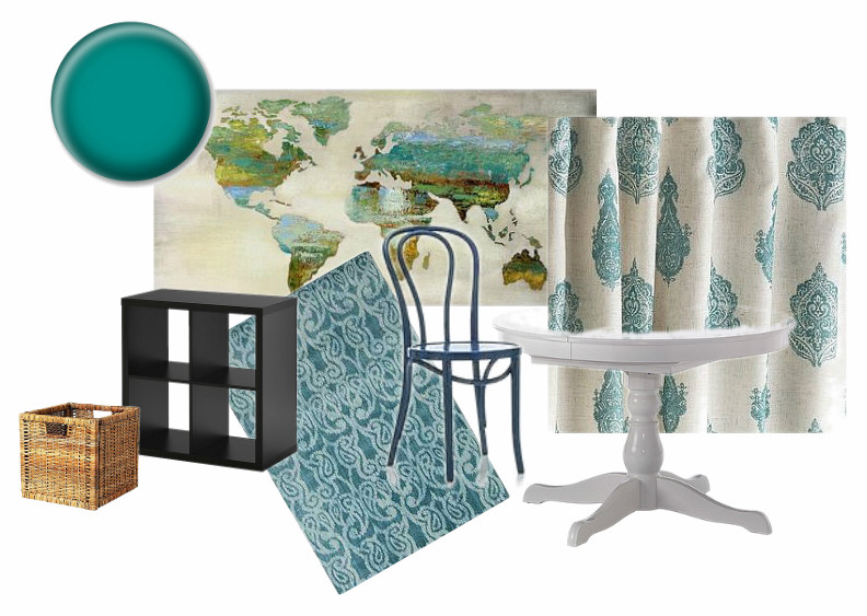 World map, Urban Barn; Curtains, Pier 1 Imports; Table, basket, bookshelf, Ikea; Rug, RugsUSA; Chair, Crate and Barrel.