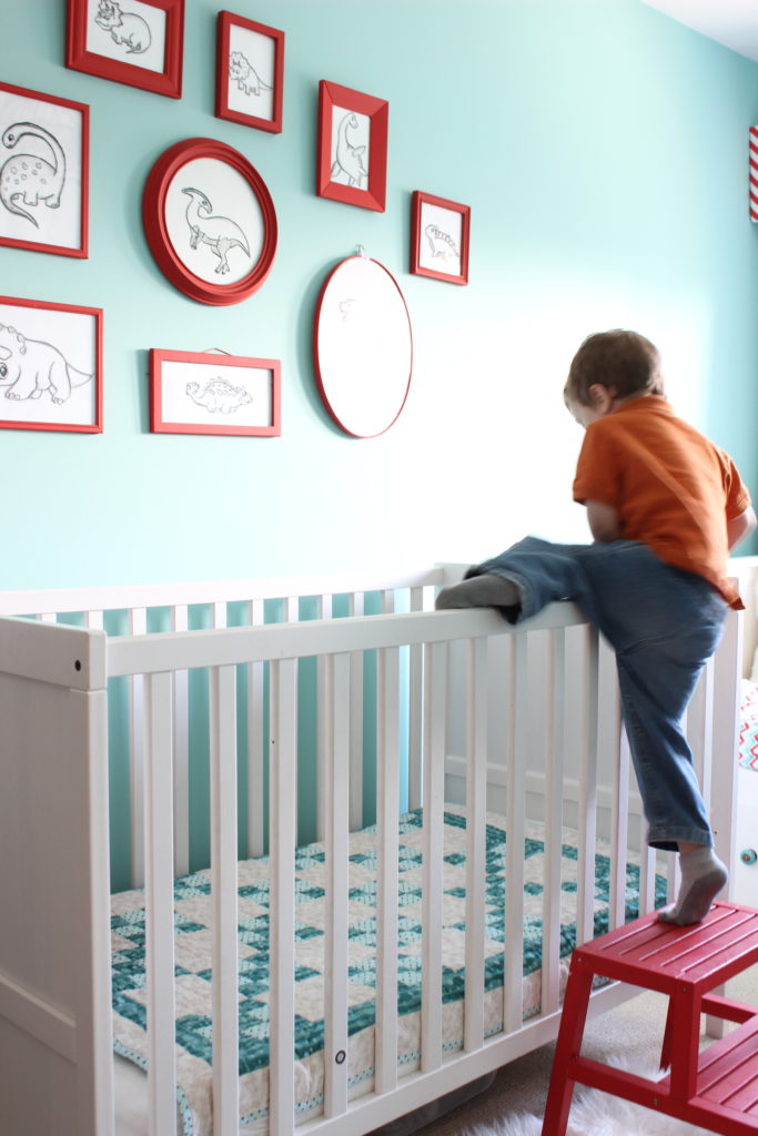 This is how Charlie gets into his crib.