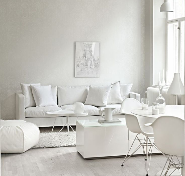 All white decor design decoration for Abercrombie interior design and decoration